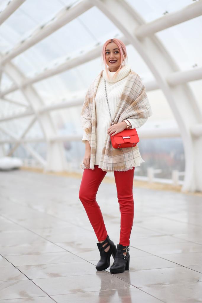 Turtleneck Sweater Faux Leather Pants