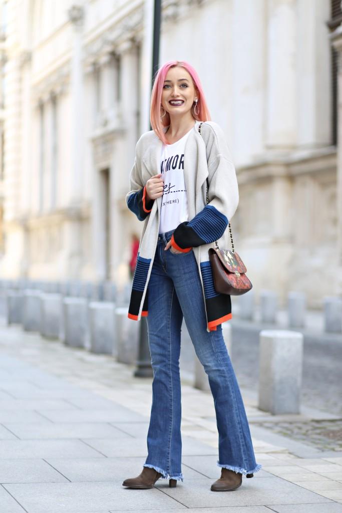 madalina misu, madalina misu fashion blog, look casual, cum ne imbracam la birou, cum purtam blugii evazati, cum purtam pantalonii evazati, oots, outfit of the day, trendsetter, blog de moda, blogger, cardigan supradimensionat