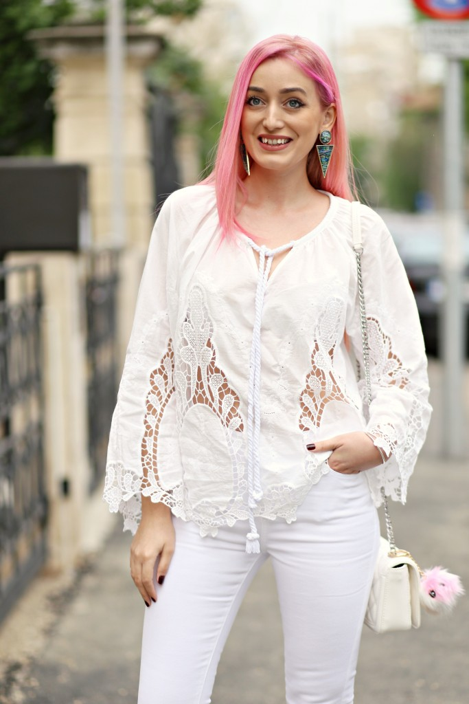 madalina misu, madalina misu fashion blog, bog de moda, top bloguri, top bloggeri, cum purtam tinute all white, bluza cu broderie, how to wear all white outfits, ootd, outfit of the day, boho chic style, stil boho chic, pantaloni evazati, cum purtam pantalonii evazati
