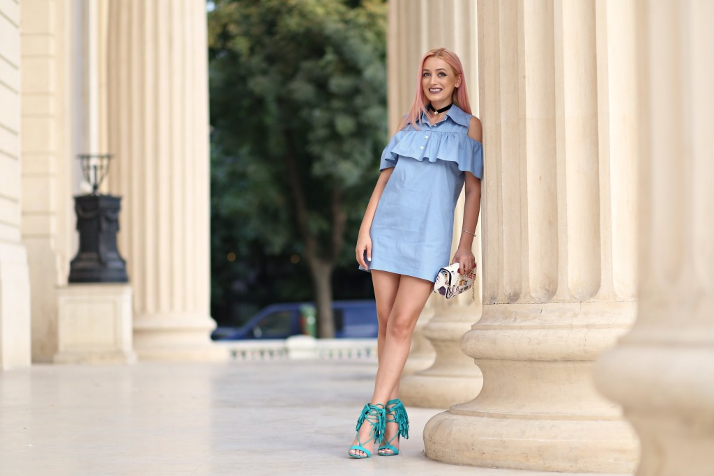 madalina misu, madalina misu fashion blog, blog de moda, fashion blog, top bloguri, top bloggeri fashion, top fashion blogger, blogger, ootd, outfit of the day, choker trend, how to wear the choker, fringed sandals, sandale amiclubwear, amiclubwear, choies, volane vara 2016, cum purtam rochia cu volane, rochie umeri goi,, vara 2016 trend,