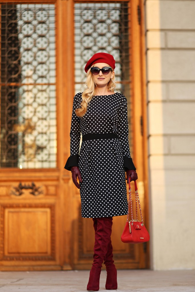 madalina misu, madalina misu fashion blog, redsquare, redsquare boutique, atelier de creatie vestimentara, creatii romanesti, designer roman, mirela gheorghe, rochie cu buline, how to wear the polka dotted dress, moschino bag, top romanian fashion blogs, top fashion bloggers, top bloguri romanesti, outfit of the day, ootd